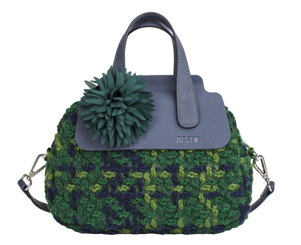 j-poppy-piccola-lana-boucle-verdepattine-piccole-in-gomma-blu-scuromanici-mini-e-tracolla-in-ecopelle-blu-scurofiore-verde-scuro-by-justo